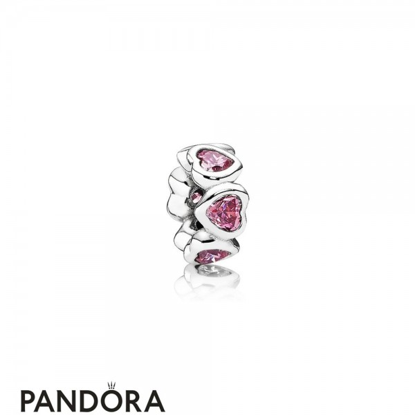 Pandora Sparkling Paves Charms Space In My Heart Spacer Fancy Pink Cz Jewelry