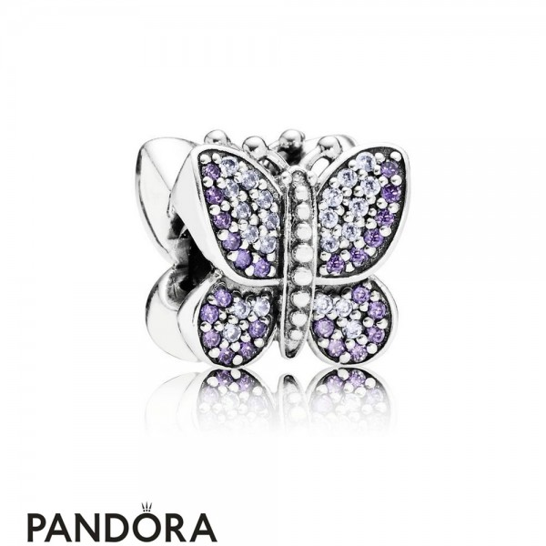 Pandora Sparkling Paves Charms Sparkling Butterfly Charm Purple Cz Jewelry