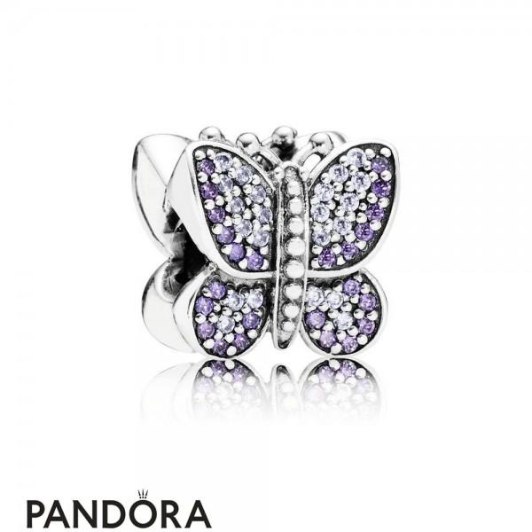 Pandora Sparkling Paves Charms Sparkling Butterfly Charm Purple Cz Jewelry