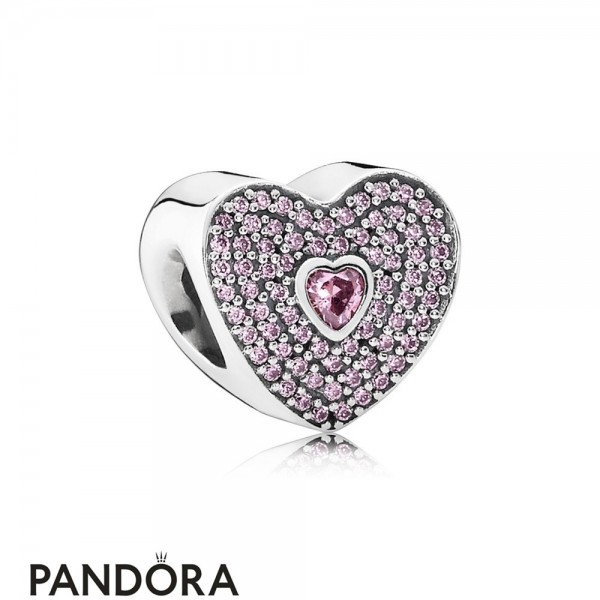 Pandora Sparkling Paves Charms Sweetheart Charm Fancy Pink Cz Jewelry