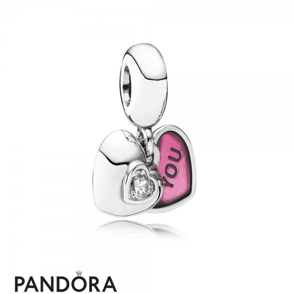 Pandora Sparkling Paves Charms You Me Two Part Pendant Charm Clear Cz Fuchsia Enamel Jewelry