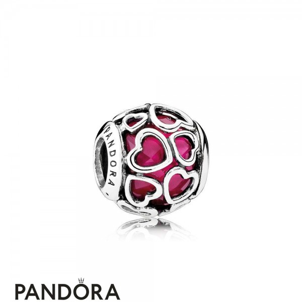 Pandora Symbols Of Love Charms Cerise Encased In Love Charm Cerise Crystal Jewelry