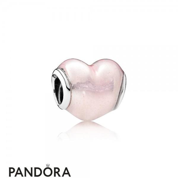 Pandora Symbols Of Love Charms Glittering Heart Charm Soft Pink Enamel Jewelry
