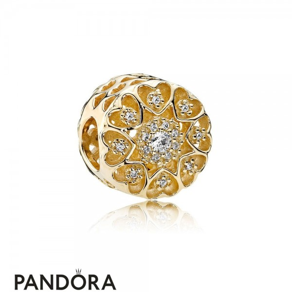 Pandora Symbols Of Love Charms Hearts Of Gold Charm Clear Cz 14K Gold Jewelry