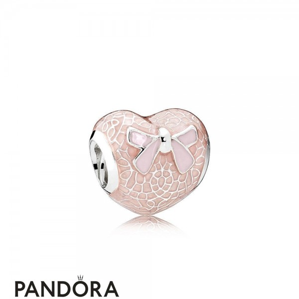 Pandora Symbols Of Love Charms Pink Bow Lace Heart Transparent Misty Rose Soft Pink Enamel Jewelry
