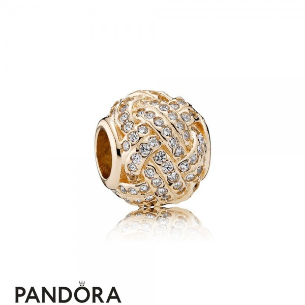 Pandora Symbols Of Love Charms Sparkling Love Knot Charm 14K Gold Clear Cz Jewelry
