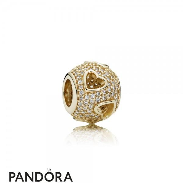 Pandora Symbols Of Love Charms Tumbling Hearts Charm Clear Cz 14K Gold Jewelry