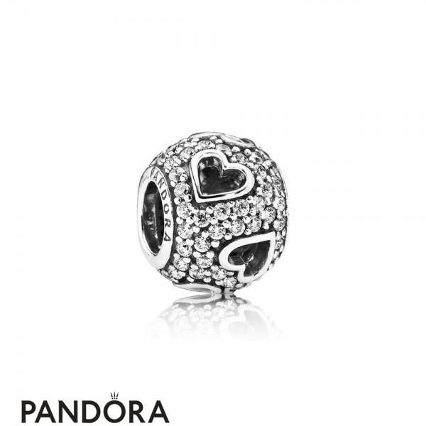 Pandora Symbols Of Love Charms Tumbling Hearts Charm Clear Cz Jewelry