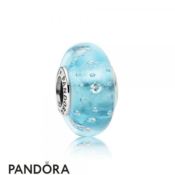 Pandora Touch Of Color Charms Blue Effervescence Charm Murano Glass Clear Cz Jewelry