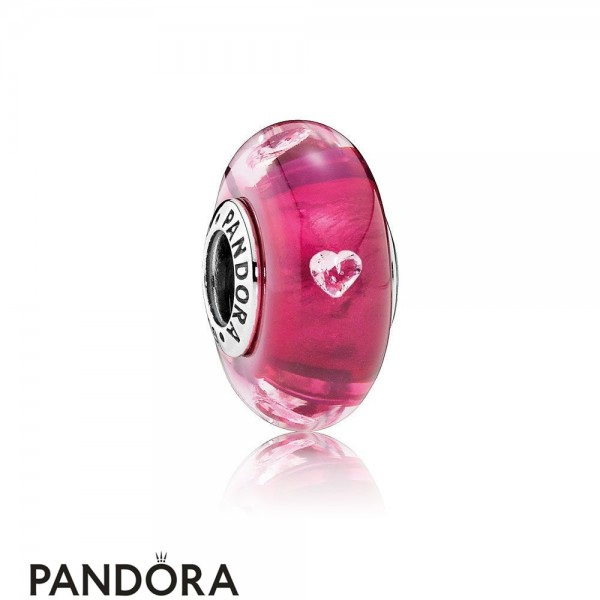 Pandora Touch Of Color Charms Cerise Heart Charm Murano Glass Clear Cz Jewelry