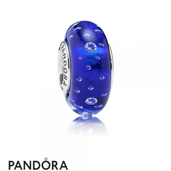 Pandora Touch Of Color Charms Dark Blue Effervescence Charm Murano Glass Clear Cz Jewelry