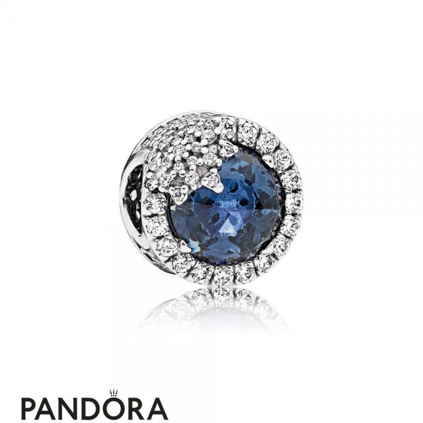 Pandora Touch Of Color Charms Dazzling Snowflake Charm Twilight Blue Crystals Clear Cz Jewelry