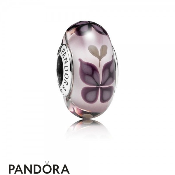 Pandora Touch Of Color Charms Pink Butterfly Kisses Charm Murano Glass Jewelry