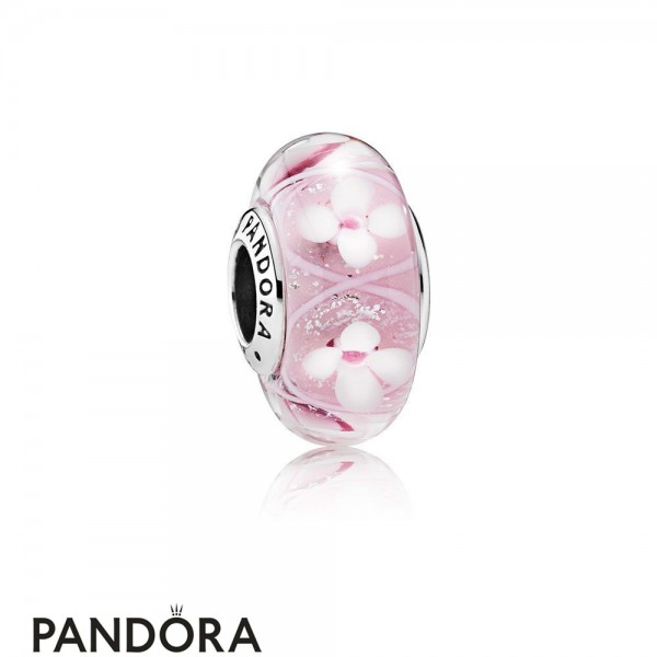 Pandora Touch Of Color Charms Pink Field Of Flowers Charm Murano Glass Jewelry