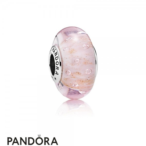 Pandora Touch Of Color Charms Pink Glitter Charm Murano Glass Jewelry
