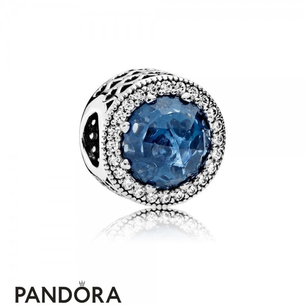 Pandora Touch Of Color Charms Radiant Hearts Charm Moonlight Blue Crystal Clear Cz Jewelry