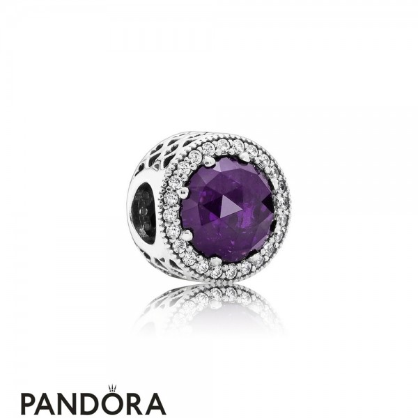 Pandora Touch Of Color Charms Radiant Hearts Charm Royal Purple Crystal Clear Cz Jewelry