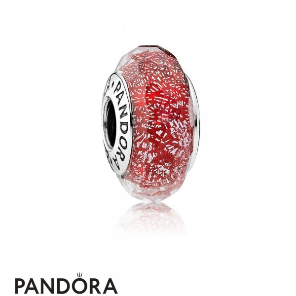 Pandora Touch Of Color Charms Red Shimmer Charm Murano Glass Jewelry