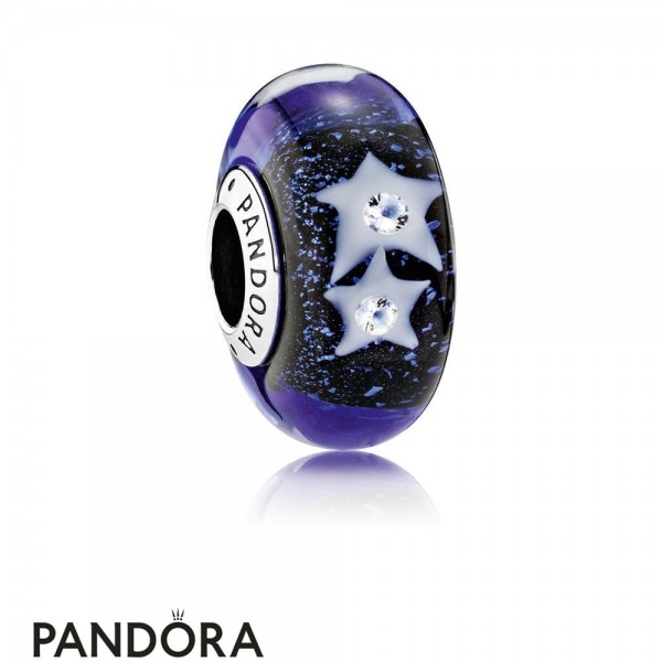 Pandora Touch Of Color Charms Starry Night Sky Charm Murano Glass Clear Cz Jewelry