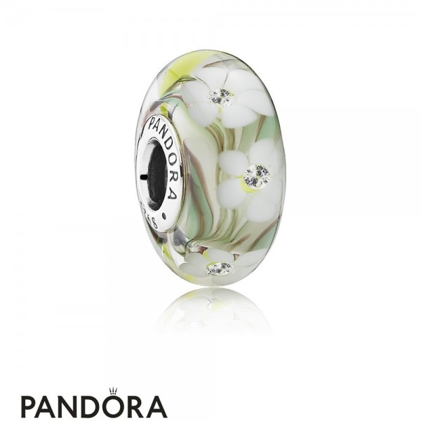 Pandora Touch Of Color Charms Wild Flowers Charm Murano Glass Clear Cz Jewelry