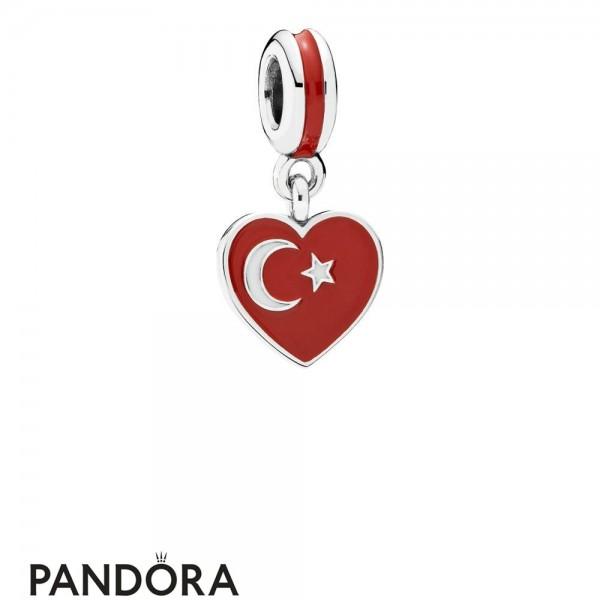 Women's Pandora Turkey Heart Flag Pendant Charm Jewelry