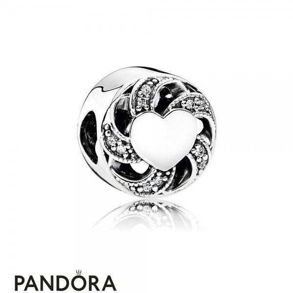 Pandora Valentine's Day Charms Ribbon Heart Charm Clear Cz Jewelry