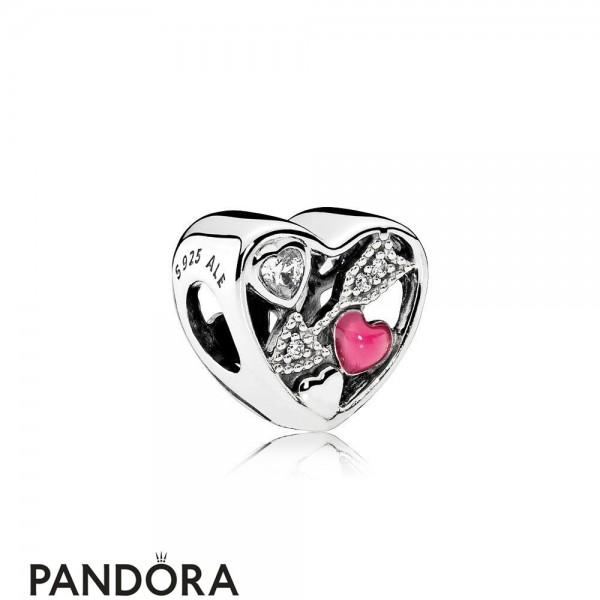 Pandora Valentine's Day Charms Struck By Love Magenta Enamel Clear Cz Jewelry