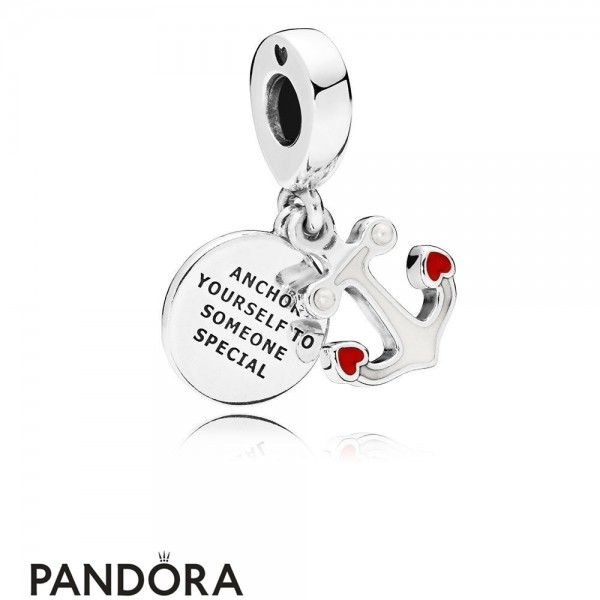 Women's Pandora Anchor Of Love Dangle Charm Red & Black Enamel Jewelry