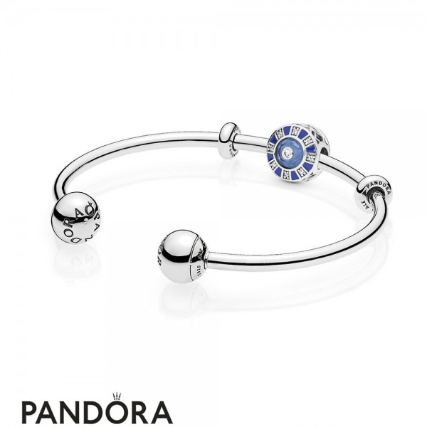 Women's Pandora Blue Mosaic Open Bangle Set Jewelry