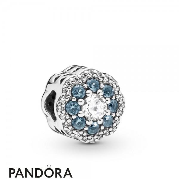 Women's Pandora Blue Sparkle Flower Charm Jewelry