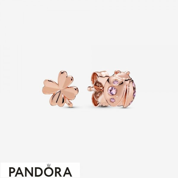 Women's Pandora Clover & Ladybird Stud Earrings Jewelry