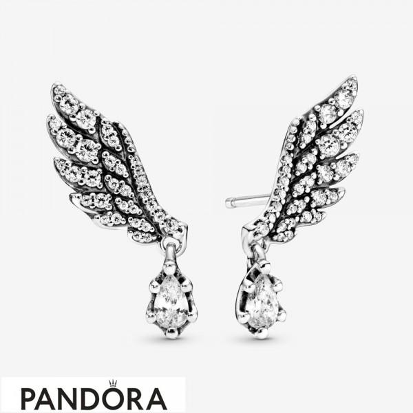 Women's Pandora Dangling Angel Wing Stud Earrings Jewelry
