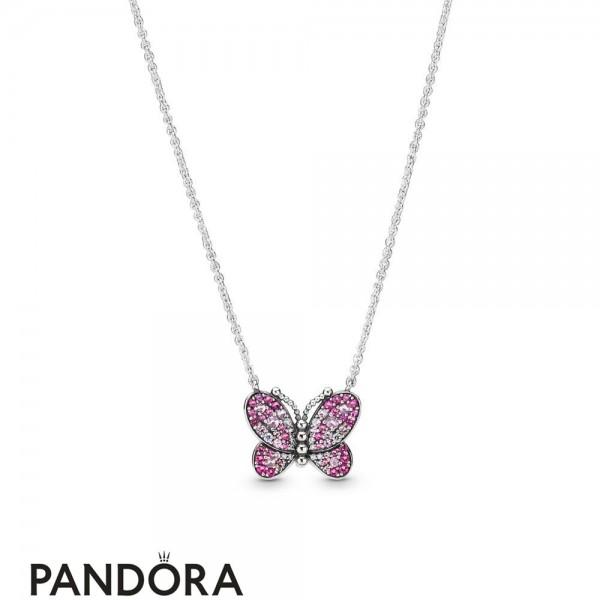 Women's Pandora Dazzling Pink Butterfly Necklace Jewelry