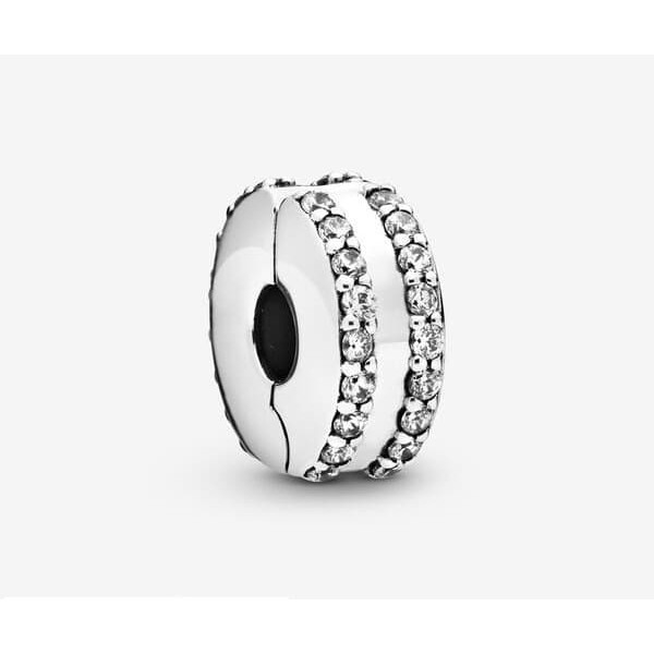 Women's Pandora Double Lined Pave Clip Charm Jewelry