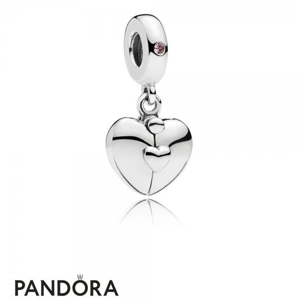 Women's Pandora Family Heart Hanging Charm Jewelry