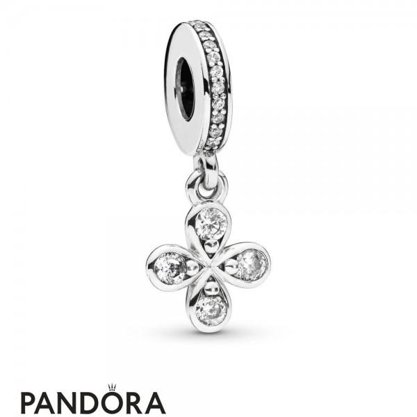 Women's Pandora Four Petal Flower Hanging Charm Jewelry