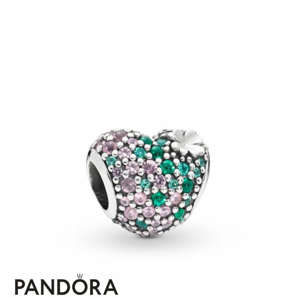 Women's Pandora Gleaming Lucky Four Leaf Clover Heart Charm Jewelry