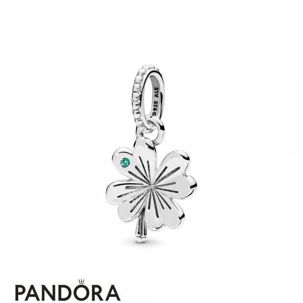 Women's Pandora Lucky Four Leaf Clover Necklace Pendant Jewelry