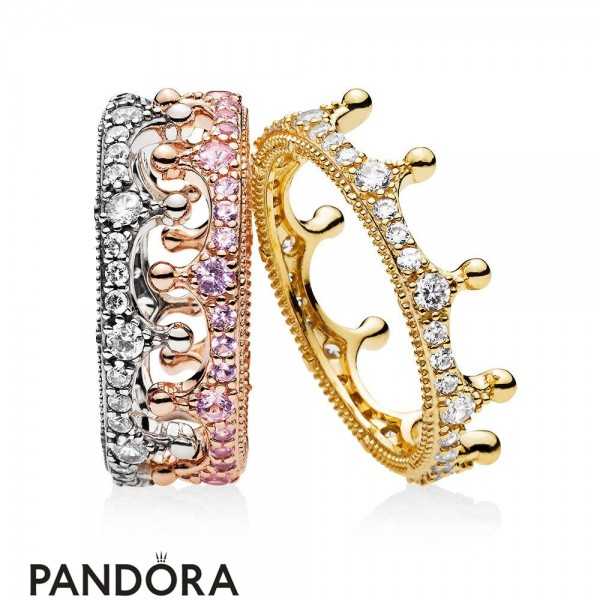 Women's Jewelry Pandora Mixed Metals Enchanted Crown Ring Stack Jewelry