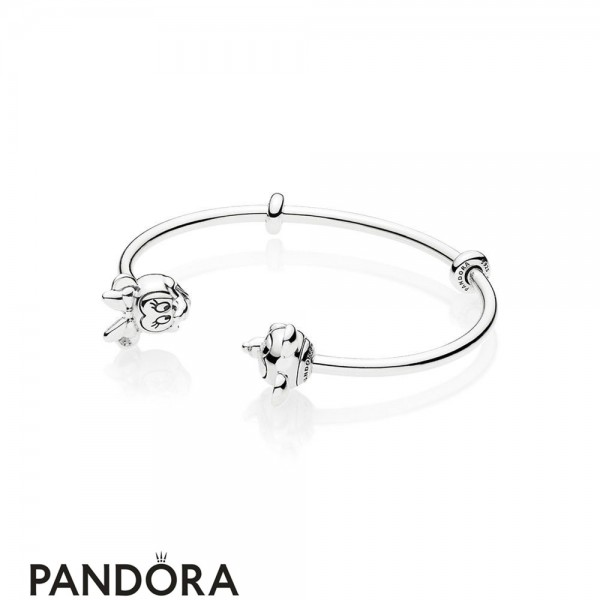 Women's Pandora Open Mix Mickey And Minnie In Silver Jewelry