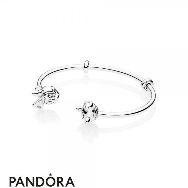 Women's Pandora Open Mix Mickey And Minnie In Silver Jewelry
