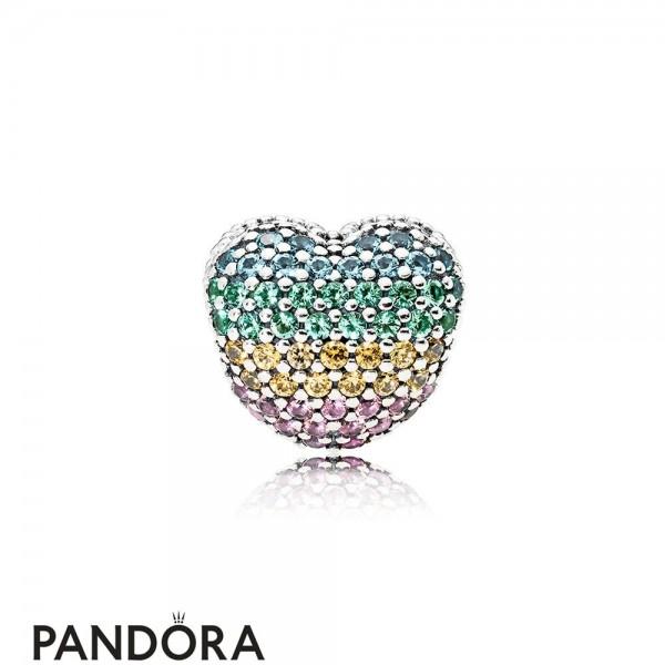 Women's Pandora Open My Heart Pave Clip Multi Color Cz Jewelry