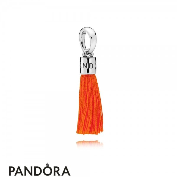 Women's Pandora Orange Fabric Tassel Dangle Charm Jewelry