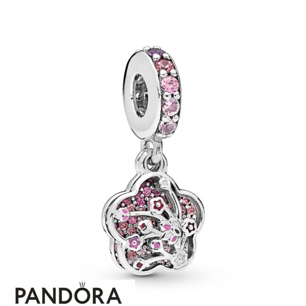 Women's Pandora Pave Peach Blossom Flower Charm Jewelry