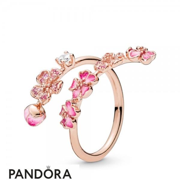 Women's Pandora Peach Blossom Flower Branch Ring Jewelry