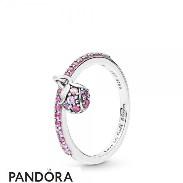 Women's Pandora Peach Blossom Flower Bud Ring Jewelry