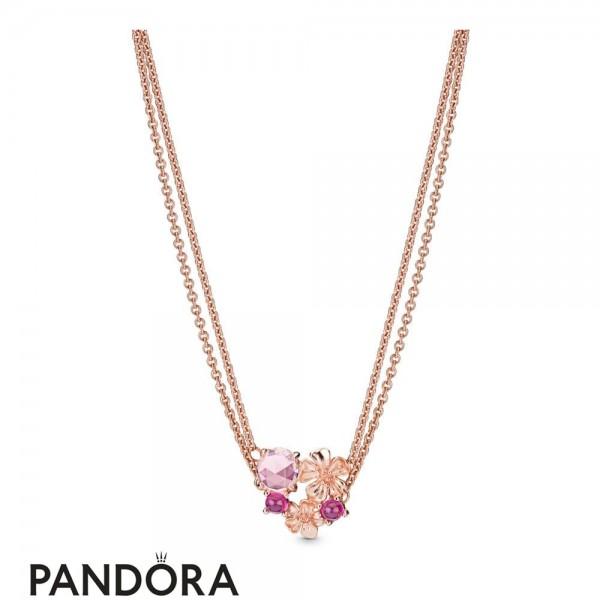 Women's Pandora Peach Blossom Flower Necklace Cz Jewelry