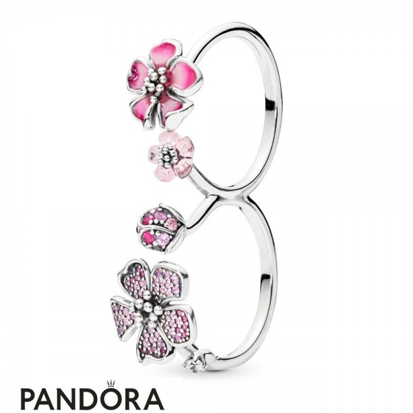 Women's Pandora Peach Blossom Flowers Ring Jewelry