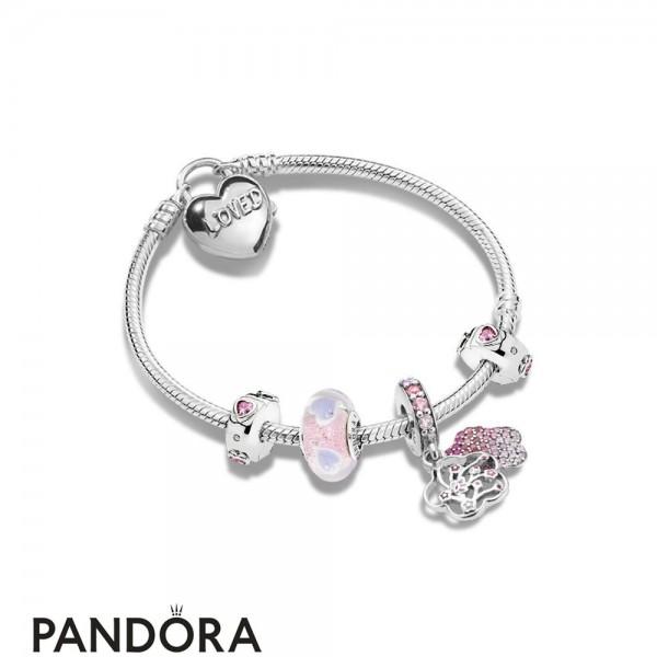 Women's Pandora Peach Flower Love Bracelet Jewelry