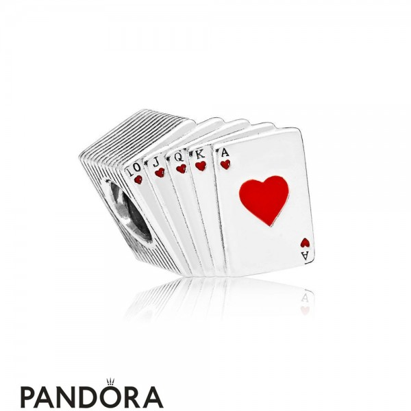Women's Pandora Playing Cards Charm Red & Black Enamel Jewelry